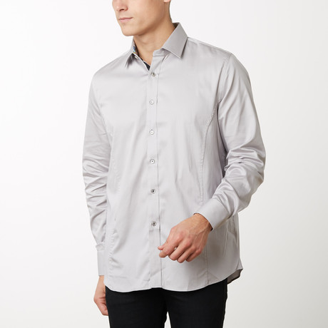 Damion Slim-Fit Dress Shirt // Silver (S)