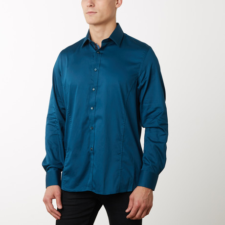 Damion Slim-Fit Dress Shirt // Teal (S)