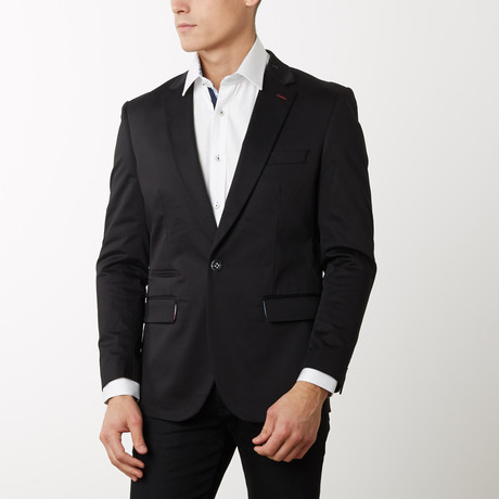 Slim-Fit Solid Blazers // Black (S)