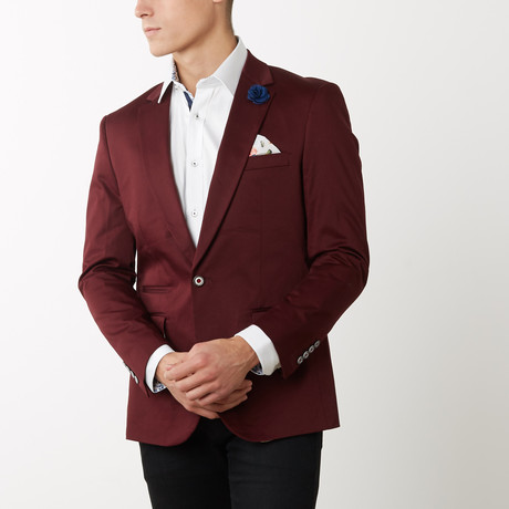 Slim-Fit Solid Blazers // Burg (S)