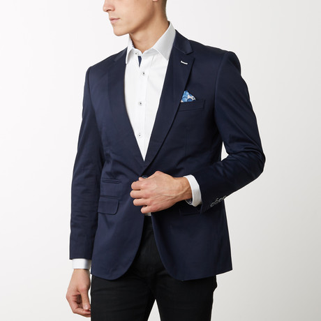 Slim-Fit Solid Blazers // Navy (S)