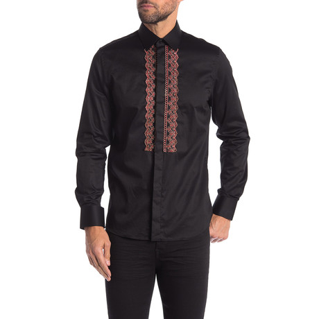 Walton Slim-Fit Dress Shirt // Black (S)