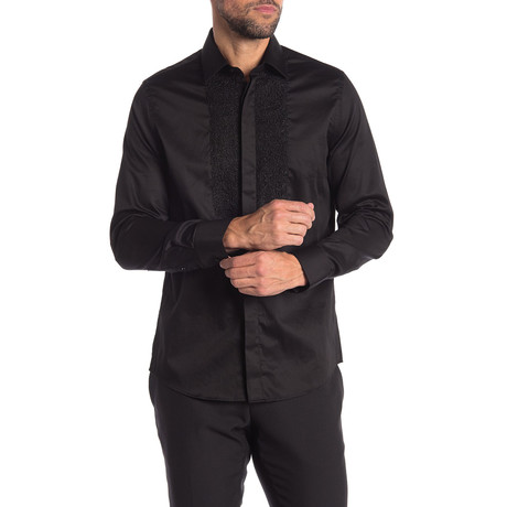Bruno Slim-Fit Dress Shirt // Black (S)