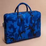 Saffiano Leather Zip Briefcase // Blue
