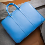 Saffiano Leather Zip Briefcase // Sky