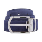 "Smooth Suede Belt // Navy (44"")"