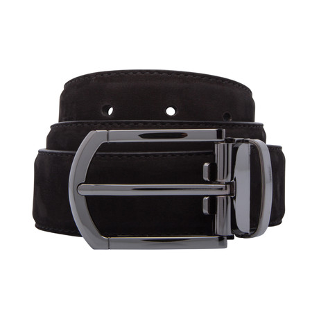 "Smooth Suede Belt // Black (30"")"
