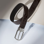 "Crocodile Stamped Leather Belt // Testa Di Moro (38"")"