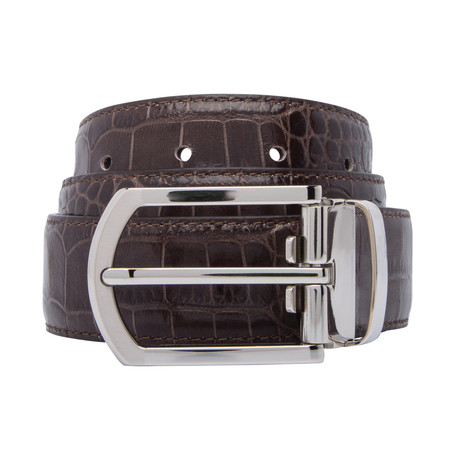 "Crocodile Stamped Leather Belt // Testa Di Moro (30"")"