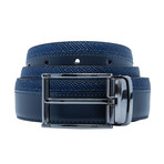 Smooth And Grained Leather Belt // Navy (Size 30)