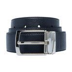 Mini Grained Leather Belt // Navy (Size 30)
