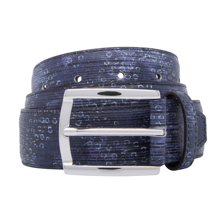 Printed Leather Belt // Navy (Size 30)