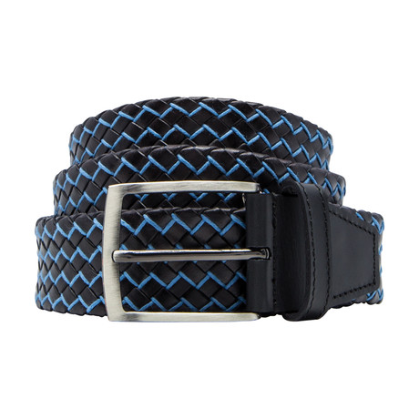 Basket Weave Pattern Leather Belt // Turquoise (Size 30)