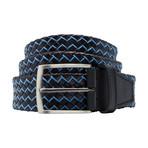 Basket Weave Pattern Leather Belt // Turquoise (Size 30)