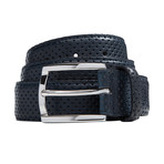 Perforated Leather Belt // Blue (Size 30)