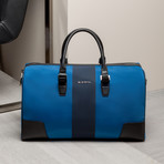 Nylon + Nappa Leather Weekender // Blue