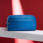 Pebble Leather Full Grain Toiletry Bag // Blue