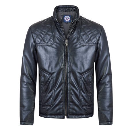 Pace Leather Jacket // Navy (S)