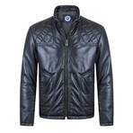 Pace Leather Jacket // Navy (3XL)