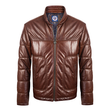Wood Leather Jacket // Brown (S)