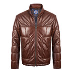 Wood Leather Jacket // Brown (XL)