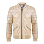 Byron Leather Jacket // Beige (S)