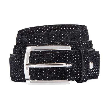 Printed Suede Belt // Black (Size 30)