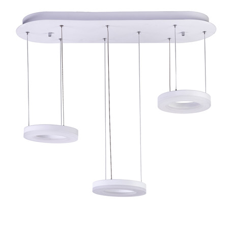 Modern LED Hoops // Three Pendant Chandelier