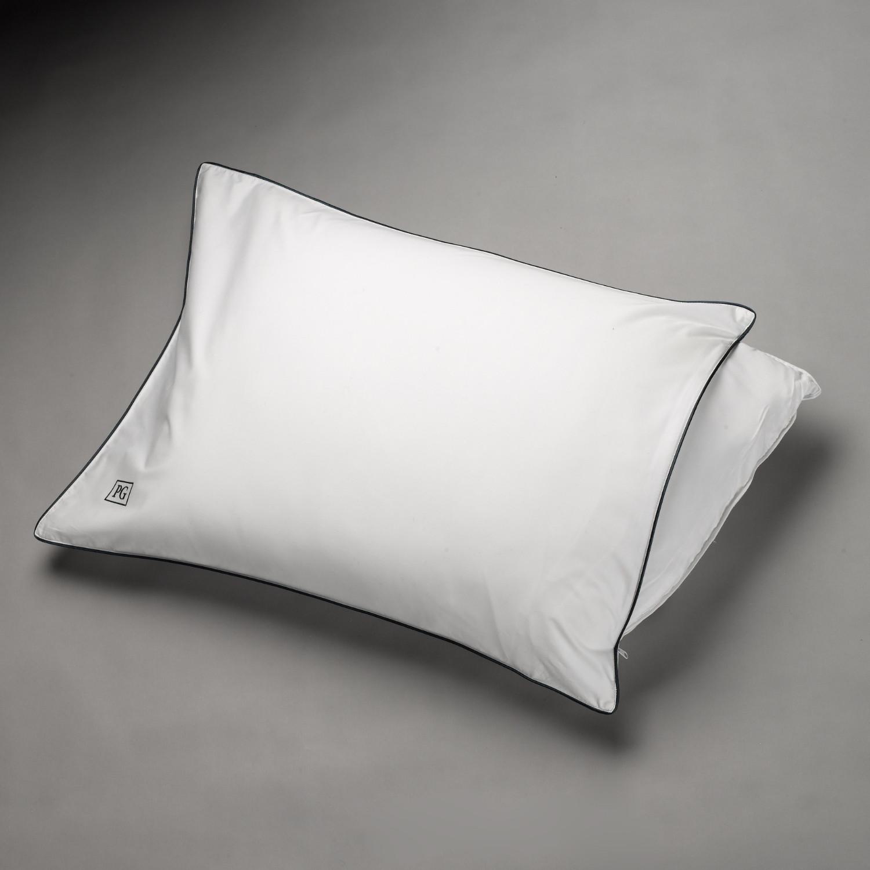 Side Back Sleeper Down Pillow White Navy Blue