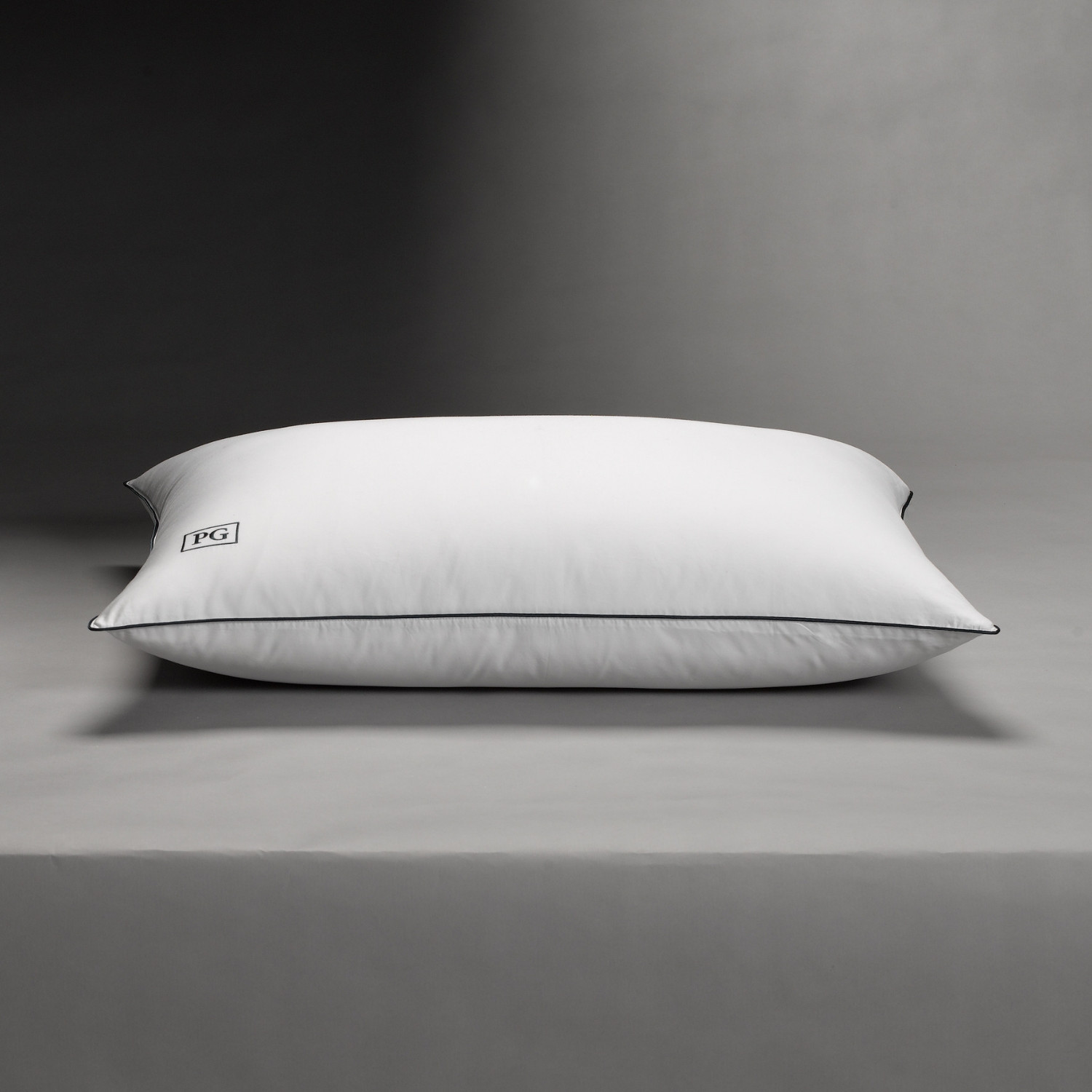 Stomach Sleeper Down Pillow White Navy Blue Piping