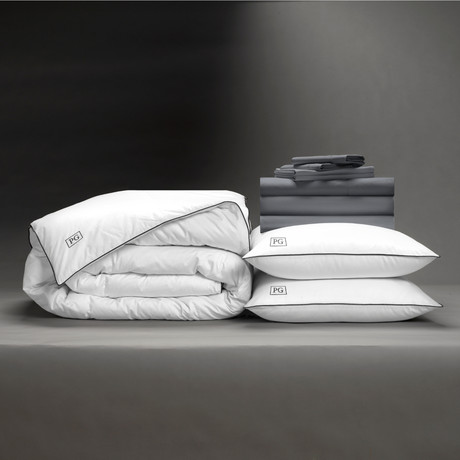 Classic Cool + Crisp Perfect Bedding Bundle // White Goose Down // Charcoal (Full)