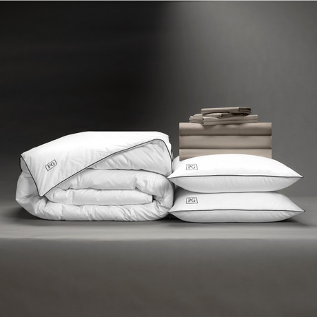 Classic Cool + Crisp Perfect Bedding Bundle // White Goose Down // Sandy Taupe (Cal King)