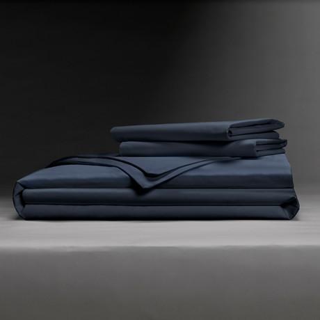 Classic Cool & Crisp 100% Cotton Percale Duvet Cover Set // Dark Navy (Full/Queen)