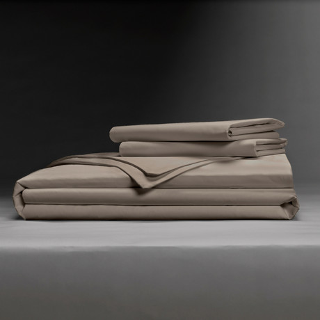 Classic Cool & Crisp 100% Cotton Percale Duvet Cover Set // Sandy Taupe (King/Cal King)