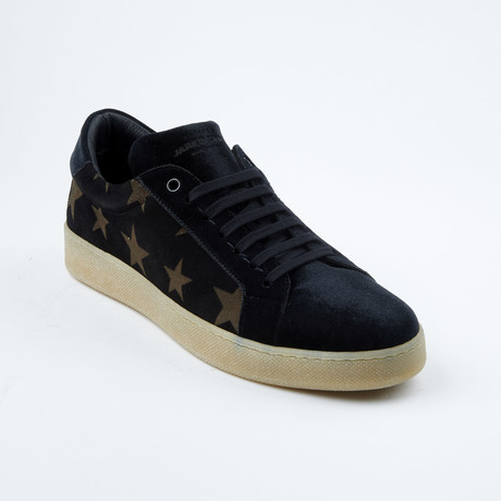 Star-Patten Lace-Up Sneaker // Black + Tan (Euro: 42)
