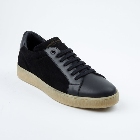 Suede Lace-Up Sneaker // Black + Tan (Euro: 42)