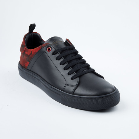 Two=Tone Lace-Up Sneaker // Black + Red Camo (Euro: 42)