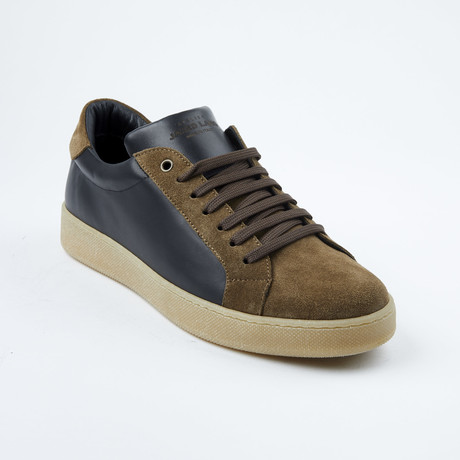 Suede Accent Lace-Up Sneaker // Black + Brown (Euro: 42)