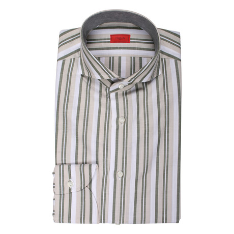Isaia // Morello Striped Dress Shirt // Green (US: 15R)