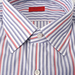Luciano Striped Dress Shirt // Blue +  Red (US: 15R)