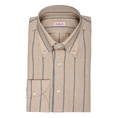Isaia // Tieri Striped Dress Shirt // Beige (US: 15R)