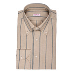 Isaia // Tieri Striped Dress Shirt // Beige (US: 17.5R)