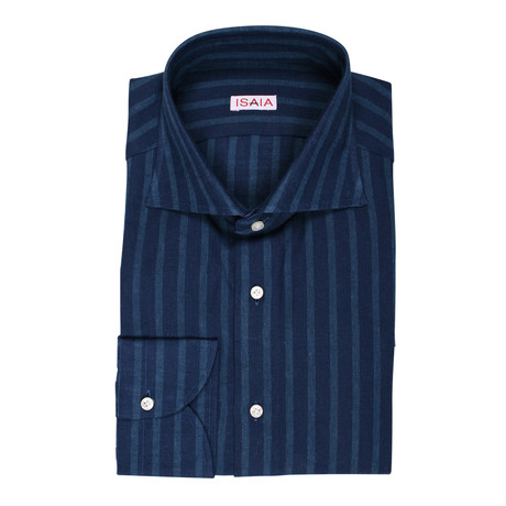 Genovese Striped Dress Shirt // Navy Blue (US: 15R)