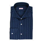 Isaia // Genovese Striped Dress Shirt // Navy Blue (US: 15R)