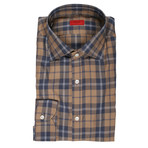 Isaia // Lombardo Checkered Dress Shirt // Blue + Brown (US: 15R)