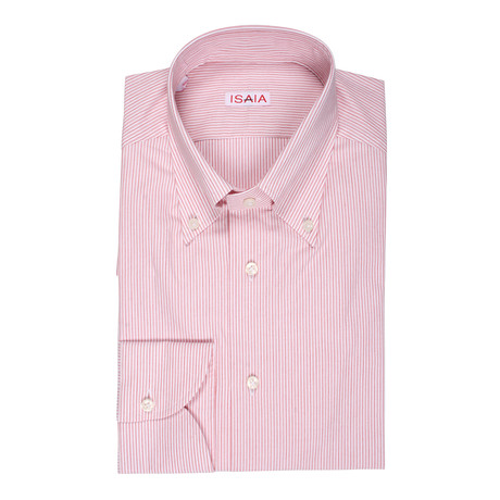 Isaia // Liborio Striped Dress Shirt // Pink (US: 15R)