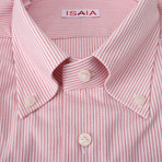 Isaia // Liborio Striped Dress Shirt // Pink (US: 17.5R)