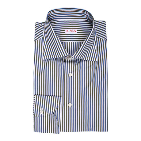 Isaia // Cirillo Striped Dress Shirt // Green (US: 15R)