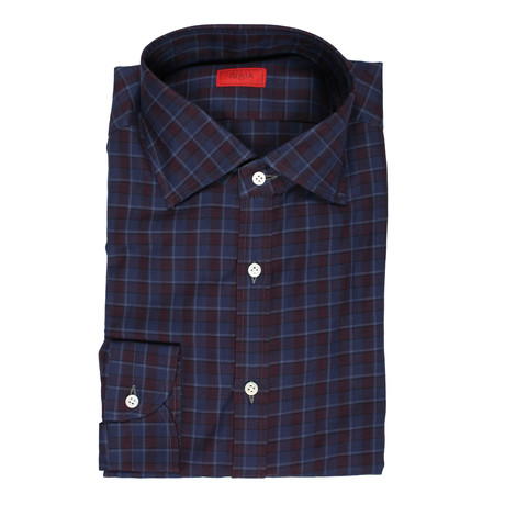 Isaia // Mario Checkered Dress Shirt // Purple (US: 15R)
