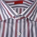 Isaia // Venero Striped Dress Shirt // Red + Gray (US: 15.75)
